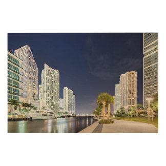 Buildings along the Miami River Riverwalk Wood Print