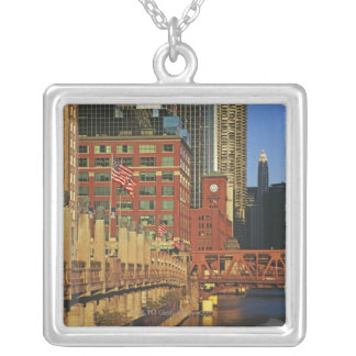 Buildings along the river in downtown Chicago, Silver Plated Necklace