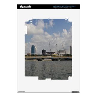 Buildings and bridge over Marina reservoir Decals For iPad 3