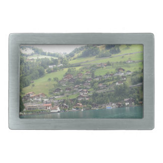 Buildings and greenery on shore of Lake Thun Belt Buckles