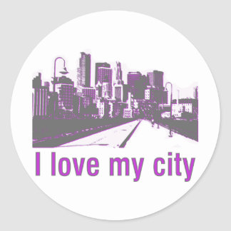 Buildings! I love my City design! Classic Round Sticker