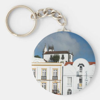 Buildings in Ponta Delgada Basic Round Button Keychain