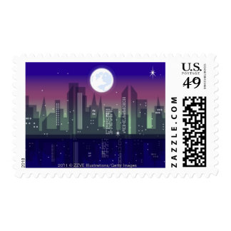 Buildings lit up at night stamps