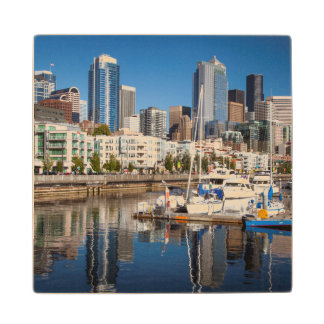 Buildings Of Downtown Seattle Rise Above Bell Maple Wood Coaster