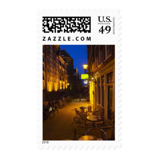 Buildings with 17th or 18th century facade and postage stamp