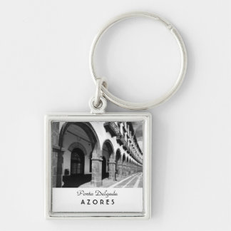 Buildings with arches Silver-Colored square keychain