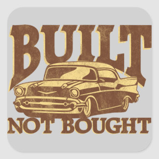 BUILT NOT BOUGHT Shoebox 57 Toolbox Square Sticker