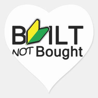 Built, not bought heart sticker