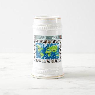 Buitres del mapa del mundo jarra de cerveza