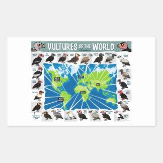 Buitres del mapa del mundo pegatina rectangular