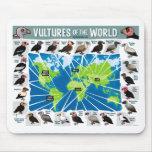 Buitres del mapa del mundo tapetes de ratón