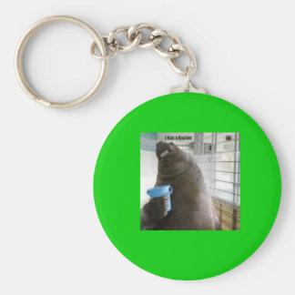 bukket basic round button keychain