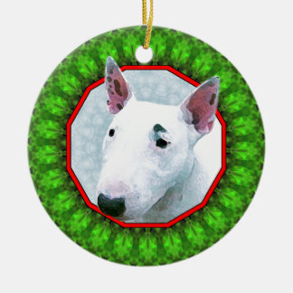 Bul Terrier Happy Howliday Ceramic Ornament