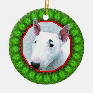 Bul Terrier Happy Howliday Ceramic Ornament