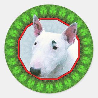 Bul Terrier Happy Howliday Classic Round Sticker