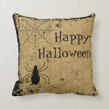 Halloween Themed Bulap Brown Halloween Spider Spider Web Distressed Throw Pillow