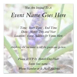 "Bulb Garden - Grape Hyacinth 5.25"" Square Invitation Card"