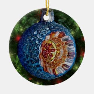 Bulbo azul del reflector del oro adorno navideño redondo de cerámica