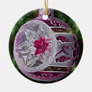Bulbo blanco rosado de plata del reflector adorno navideño redondo de cerámica