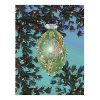 Bulbo de cristal de plata verde postal