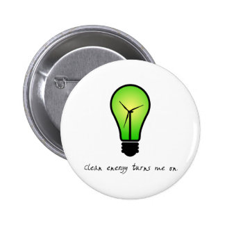 Bulbo de la energía limpia - botón pin redondo de 2 pulgadas