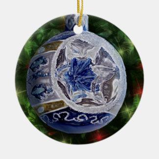 Bulbo de plata azul del reflector adorno navideño redondo de cerámica