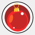 Bulbo del árbol de navidad pegatina redonda