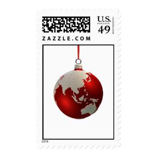 Bulbo del navidad con los continentes, Asia y Aust