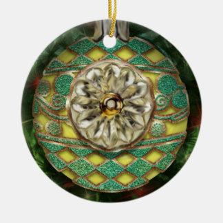Bulbo del reflector del verde del oro amarillo adorno navideño redondo de cerámica