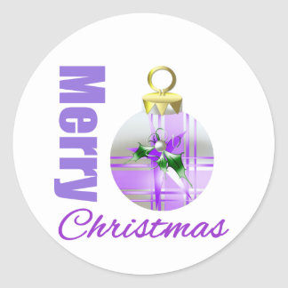 Bulbo púrpura del ornamento del tema de las pegatina redonda