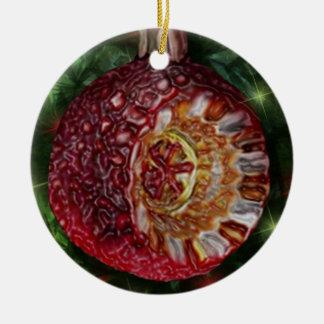 Bulbo rojo del reflector del oro adorno navideño redondo de cerámica