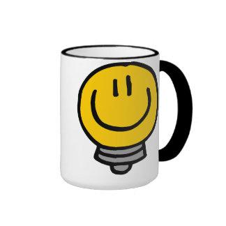 Bulbo sonriente taza de dos colores