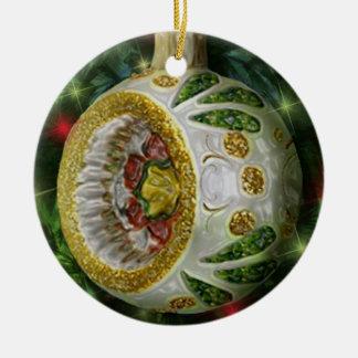 Bulbo verde del reflector del oro blanco adorno navideño redondo de cerámica