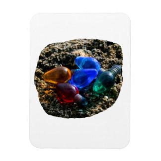 Bulbos coloridos del navidad en fotografía de la a imanes rectangulares