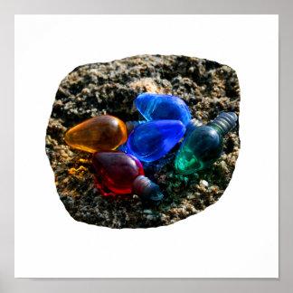 Bulbos coloridos del navidad en fotografía de la a poster