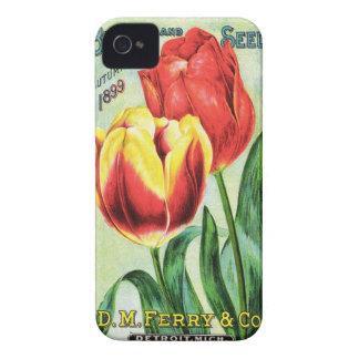 Bulbos y semillas rojos y tulipán amarillo Case-Mate iPhone 4 cobertura