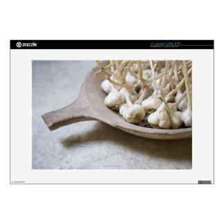 """Bulbs of garlic in an earthenware bowl 15"""" laptop decals"""