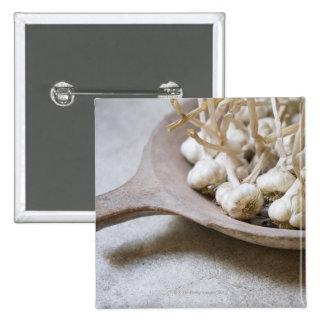 Bulbs of garlic in an earthenware bowl pinback button