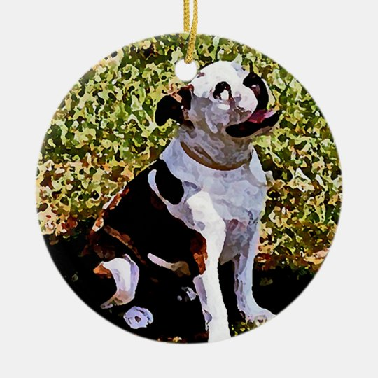 Buldog Sitting with Mouth Open Ceramic Ornament