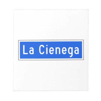 Bulevar de Cienega del La, Los Ángeles, placa de Libreta Para Notas