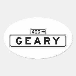 Bulevar de Geary., placa de calle de San Francisco Pegatina Ovalada