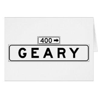 Bulevar de Geary., placa de calle de San Francisco Tarjeta De Felicitación