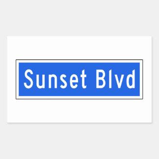 Bulevar de la puesta del sol, Los Ángeles, placa Pegatina Rectangular