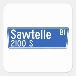 Bulevar de Sawtelle, Los Ángeles, placa de calle Pegatina Cuadrada
