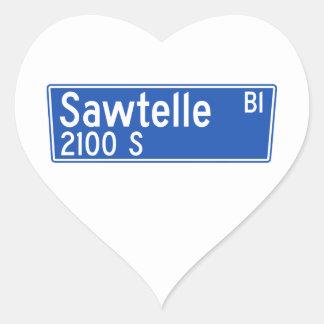 Bulevar de Sawtelle, Los Ángeles, placa de calle Pegatina En Forma De Corazón