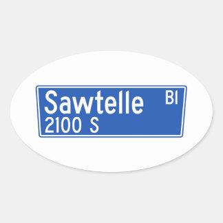 Bulevar de Sawtelle, Los Ángeles, placa de calle Pegatina Ovalada