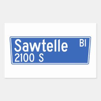 Bulevar de Sawtelle, Los Ángeles, placa de calle Pegatina Rectangular
