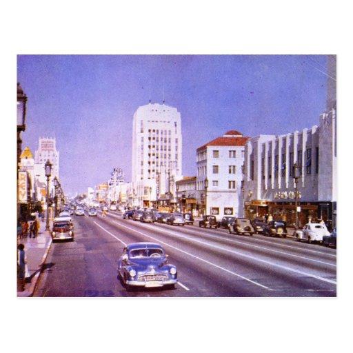 Bulevar de Wilshire., milla del milagro, vintage d Postal