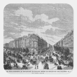 Bulevar Haussmann ampliado en medio Pegatina Cuadrada