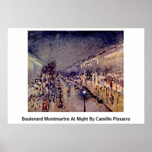 Bulevar Montmartre en la noche de Camille Pissarro Impresiones